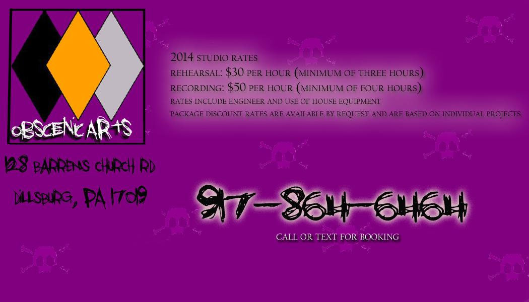 Obscenic Arts Recording Studio Rates and Contact