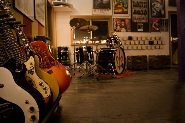Guitars and Drums at Obscenic Arts Recording Studio - photo by Eric Kovac