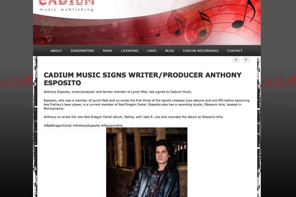 CADIUM MUSIC SIGNS WRITER/PRODUCER ANTHONY ESPOSITO